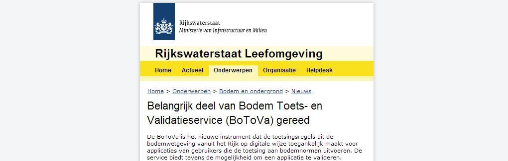 BoToVa Webservice Toetsing November 2013 MILON Experts Bodem Ruimte Milieu 3